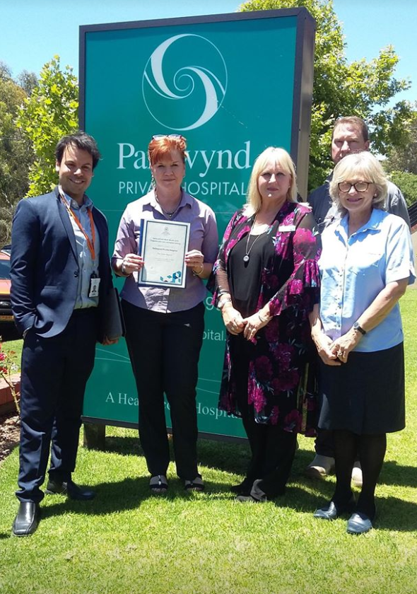 Parkwynd Private Hospital staff with their winner's certificate