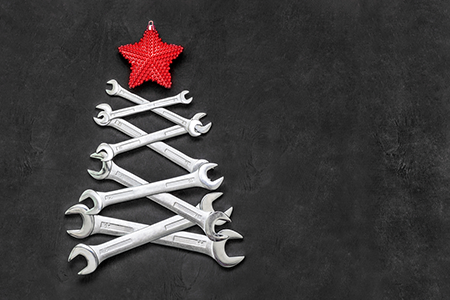 Christmas tree made of spanners
