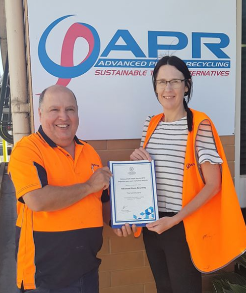 Advanced Plastic Recycling staff with their winner's certificate
