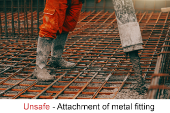 Pouring concrete with an unsafe metal hose attachment
