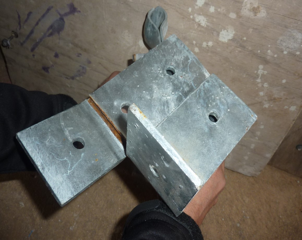 Photo showing failed support brackets